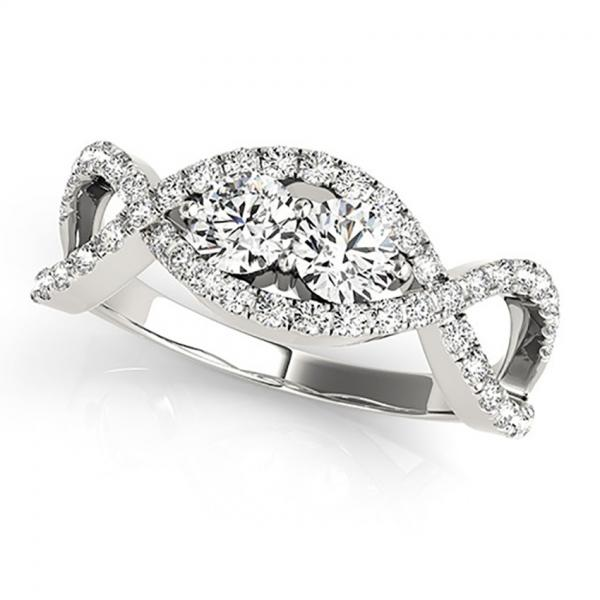 Diamond Twisted Infinity Two Stone Ring 14k White Gold (1.00ct)