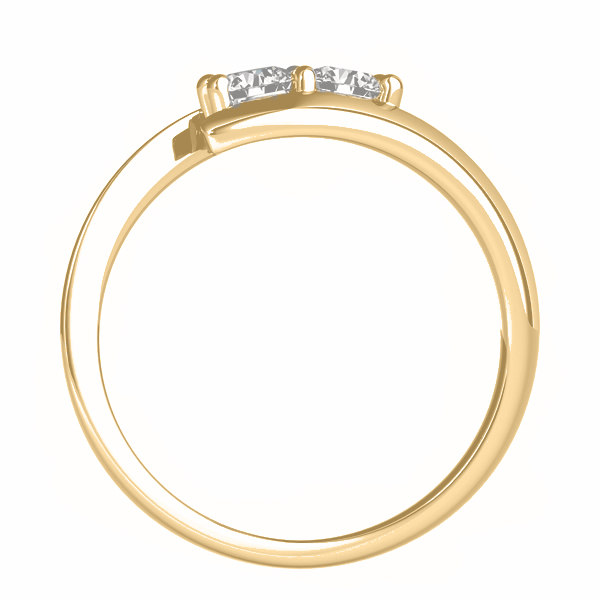 Diamond Solitaire Tension Two Stone Ring 14k Yellow Gold (0.12ct)