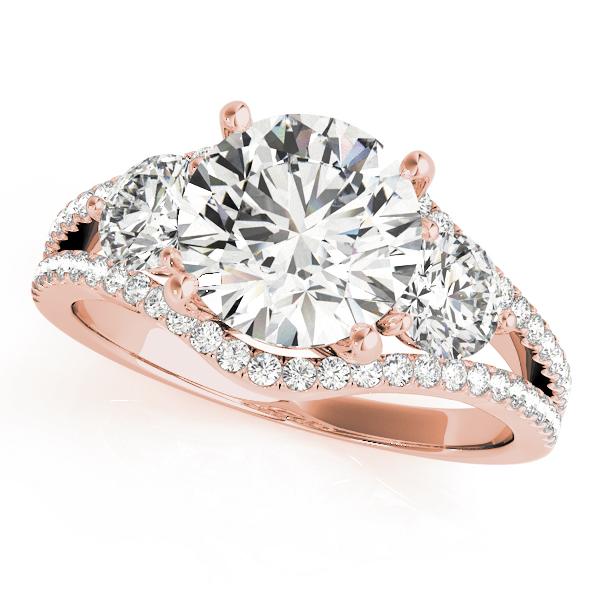 Diamond Split Shank Three Stone Engagement Ring 14k Rose Gold (2.72ct)