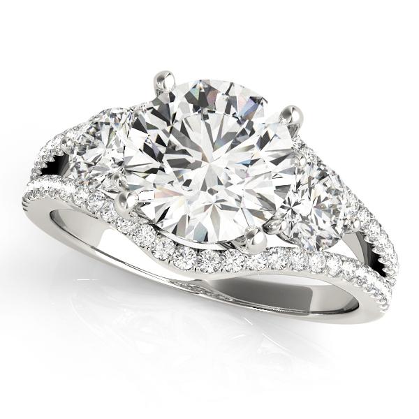 Diamond Split Shank Three Stone Engagement Ring 14k White Gold (2.72ct)