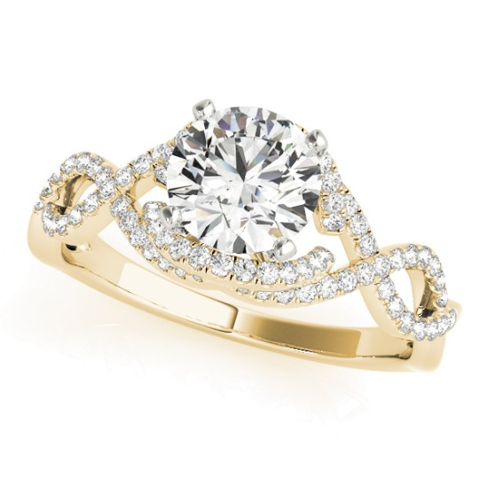 Diamond Twisted Infinity Engagement Ring 14k Yellow Gold (1.22ct)