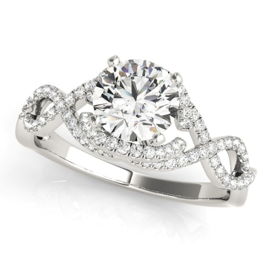 Diamond Twisted Infinity Engagement Ring 18k White Gold (1.22ct)