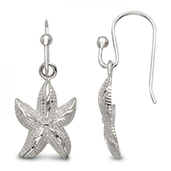 Women's Etched Starfish Earrings with Hooks in Sterling Silver