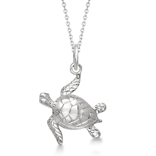 Sea Turtle Pendant Necklace in Sterling Silver