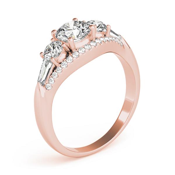 Multi Stone Baguette Diamond Engagement Ring 14k Rose Gold 1 38ct