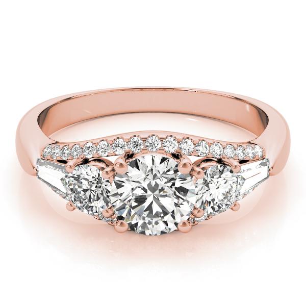 Multi Stone Baguette Diamond Engagement Ring 18k Rose Gold 1 38ct