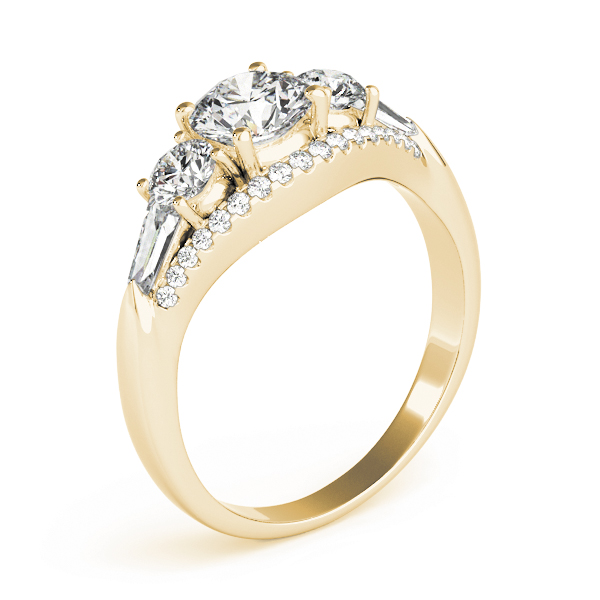 Multi Stone Baguette Diamond Engagement Ring 18k Yellow Gold 1 38ct