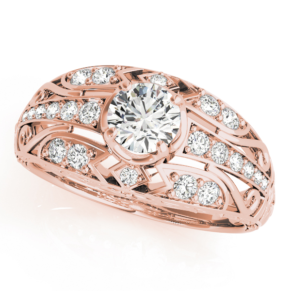 Diamond Art Deco Engagement Ring 14k Rose Gold (0.73ct)