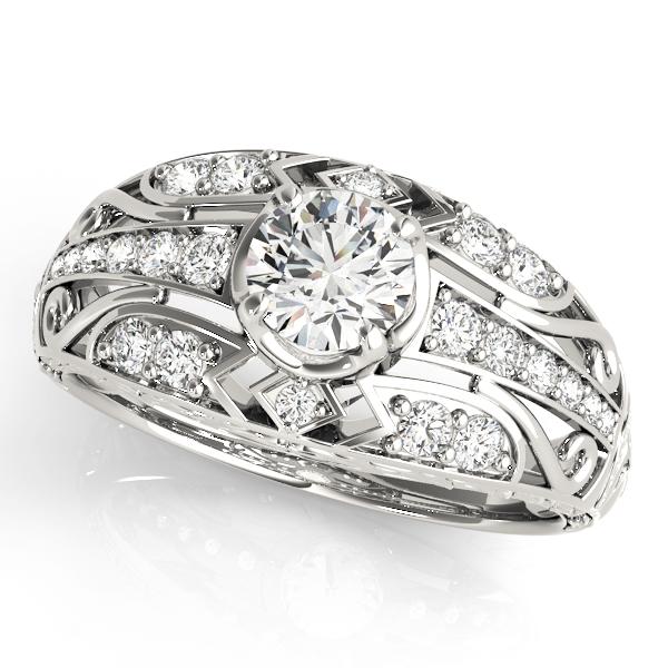 Diamond Art Deco Engagement Ring 14k White Gold (0.73ct)