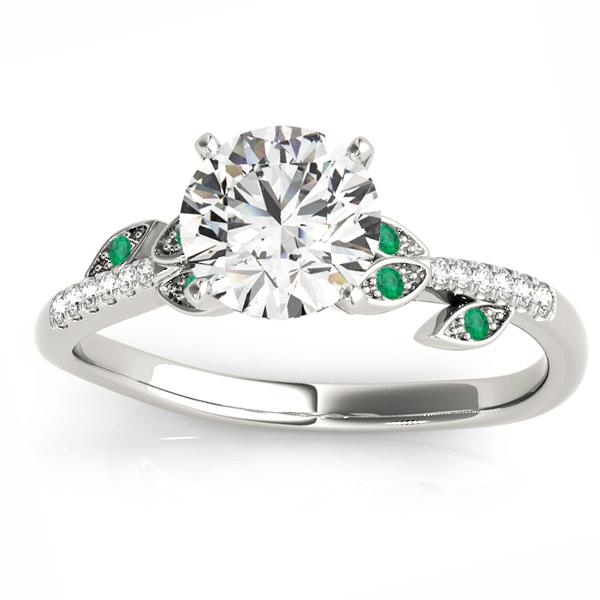 Emerald & Diamond Vine Leaf Engagement Ring Setting 14K White Gold (0.10ct)