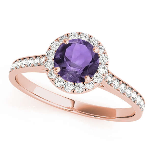 diamond halo amethyst engagement ring 14k rose gold 1. Black Bedroom Furniture Sets. Home Design Ideas