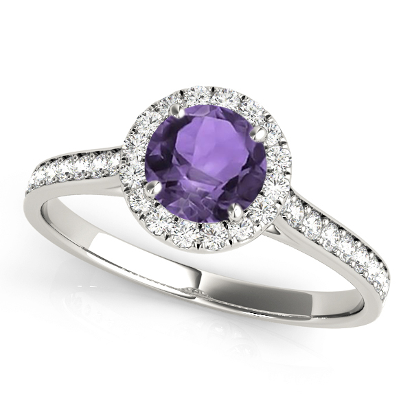 Diamond Halo Amethyst Engagement Ring 14k White Gold (1.29ct)
