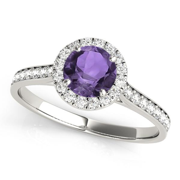 Diamond Halo Amethyst Engagement Ring Platinum (1.29ct)
