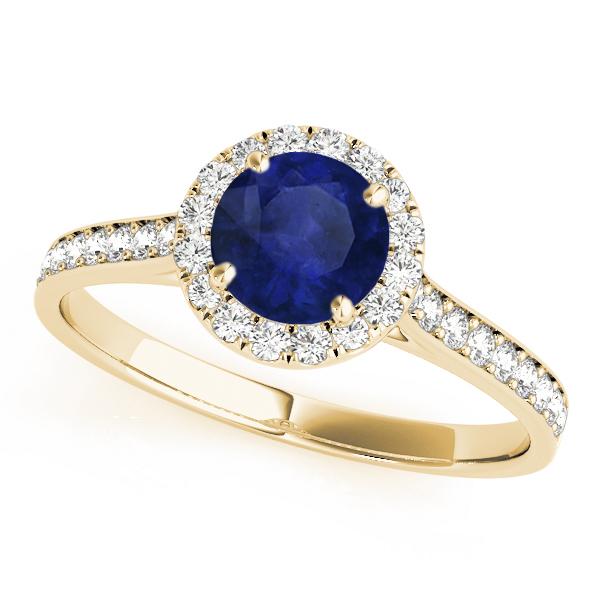 Diamond Halo Blue Sapphire Engagement Ring 18k Yellow Gold (1.29ct)