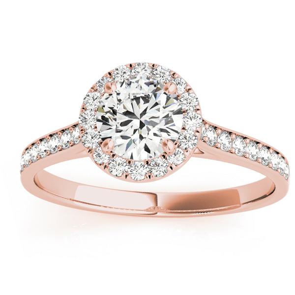 Diamond Halo Engagement Ring 18k Rose Gold (0.29ct)