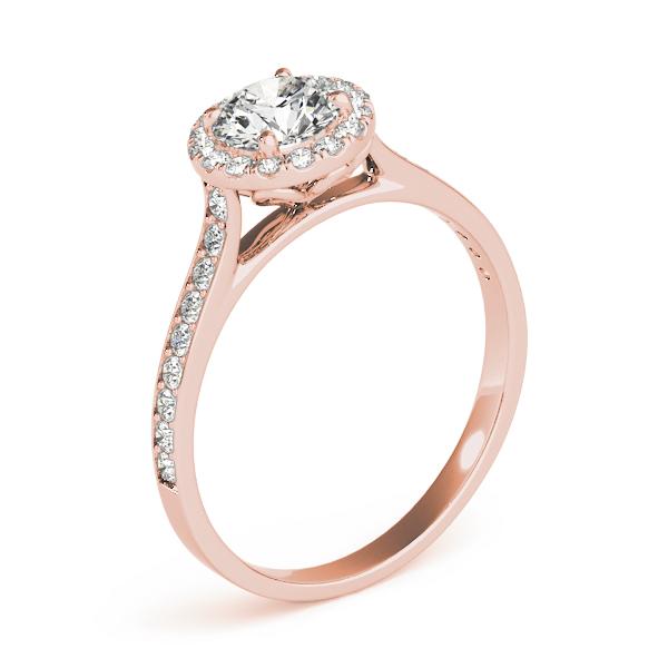Diamond Halo Engagement Ring 18k Rose Gold 0 29ct Allurez