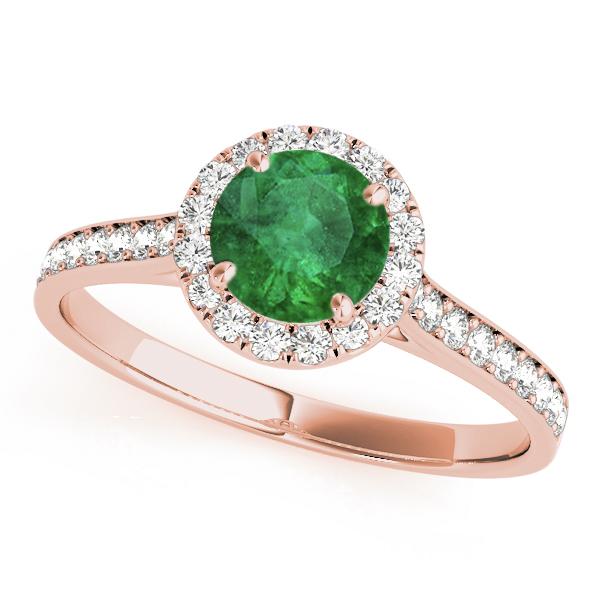 Diamond Halo Emerald Engagement Ring 18k Rose Gold (1.29ct)