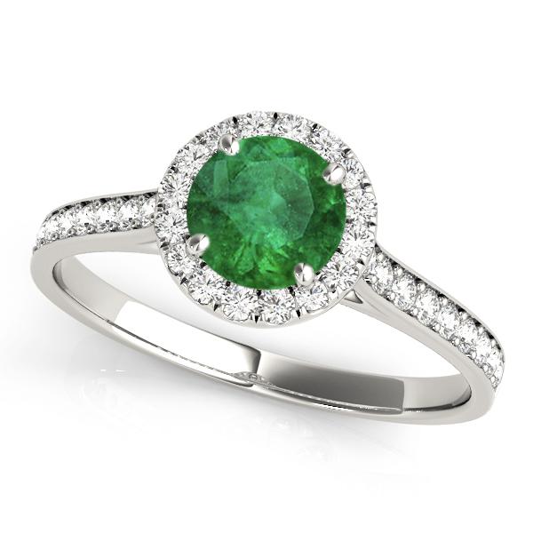 Diamond Halo Emerald Engagement Ring 18k White Gold (1.29ct)