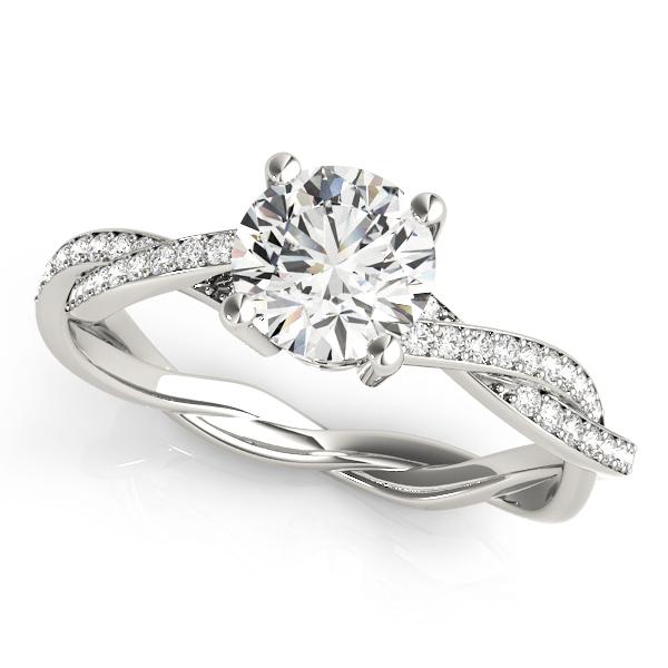 Diamond Twist Sidestone Accented Engagement Ring 14k White Gold (1.11ct)
