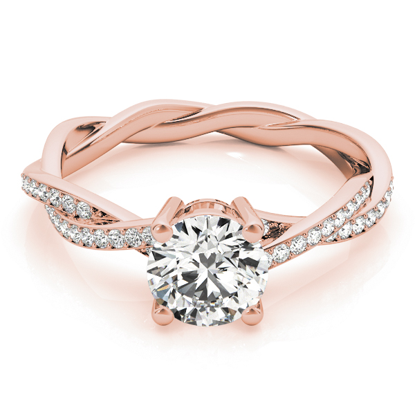 Diamond Twist Sidestone Accented Engagement Ring 18k Rose Gold (1.11ct)