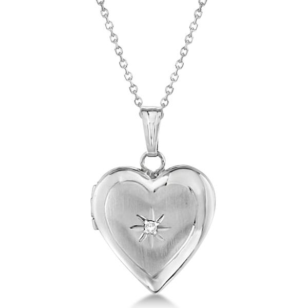 Petite Heart Photo Locket w/ Diamond Accent Women 14k White Gold .01ct