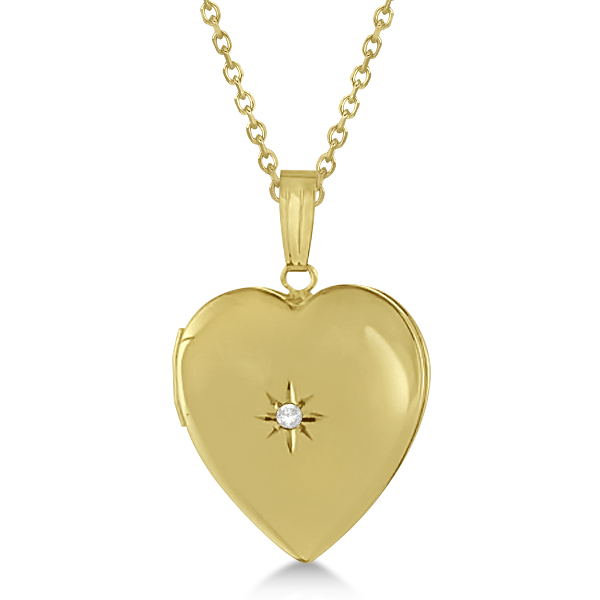 Ladies Heart Photo Locket w/ Diamond Accent in 14k Yellow Gold 0.02ct