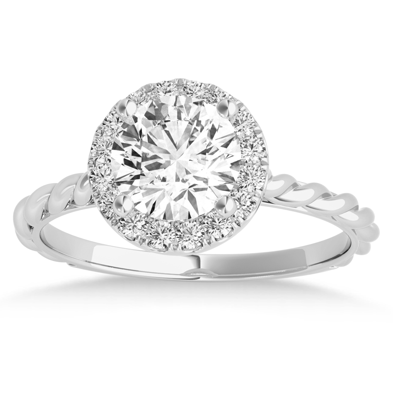 Diamond Halo Twisted Rope Engagement Ring in 14k White Gold (0.10ct)