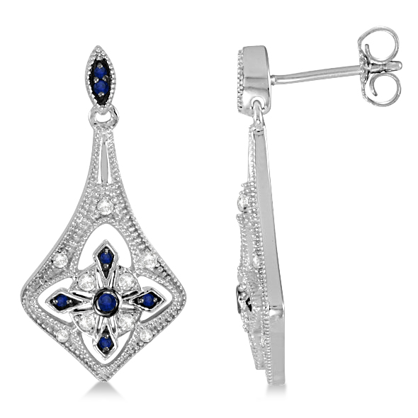 Blue Sapphire and Diamond Chandelier Earrings Sterling Silver 1.18ctw