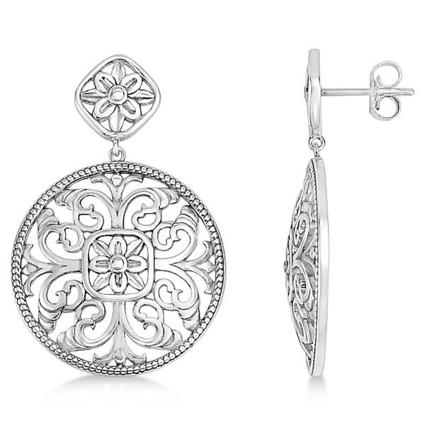 Filigree Design Drop Earrings in Plain Metal 14k White Gold