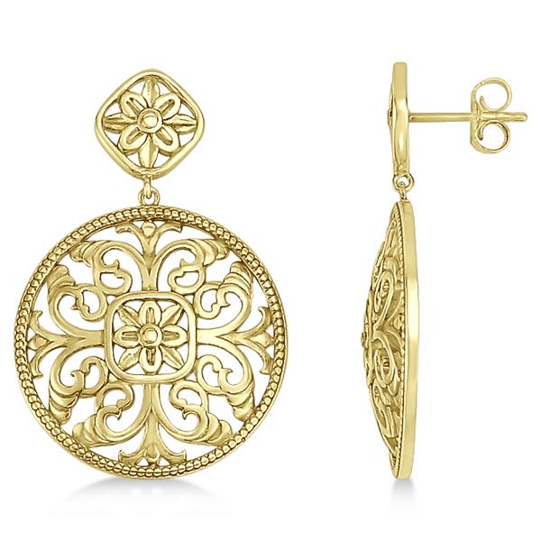 Filigree Design Drop Earrings in Plain Metal 14k Yellow Gold