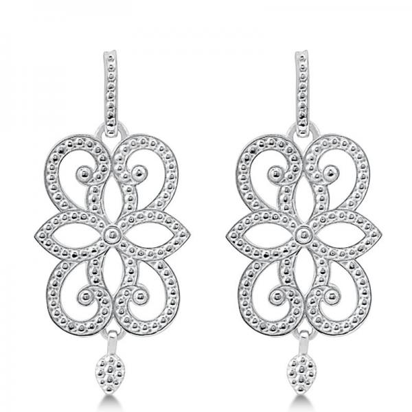 Granulated Scroll Design Drop Earrings in Plain Metal 14k White Gold