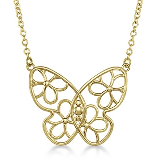 Floral Design Butterfly Pendant Necklace 14 Yellow Gold