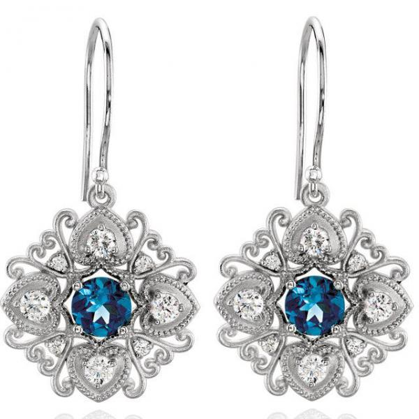 London Blue Topaz Vintage Earrings with Diamonds 14k White Gold 0.50ct