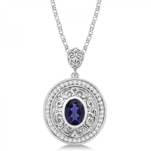 Vintage Diamond Iolite Pendant Necklace in 14k White Gold (1.75ct)