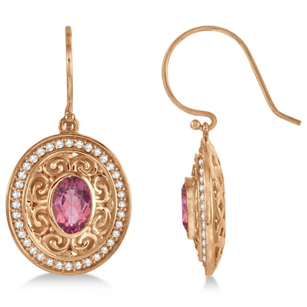 Diamond & Pink Tourmaline Drop Earrings 14k Rose Gold (1.33ct)