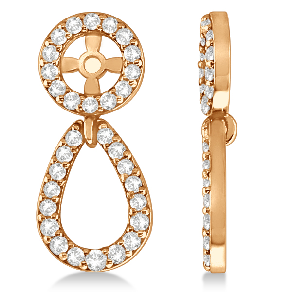 Ladies Teardrop Dangle Diamond Earring Jackets 14k Rose Gold (0.38ct)