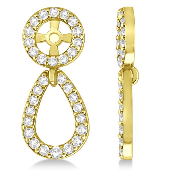 Ladies Teardrop Dangle Diamond Earring Jackets 14k Yellow Gold (0.38ct)