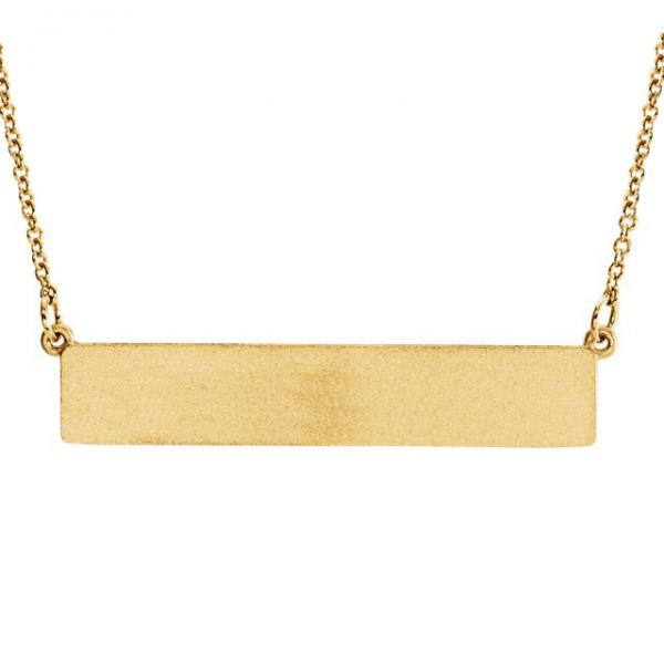 Personalized Engravable Bar Pendant Necklace in Solid 14k Yellow Gold