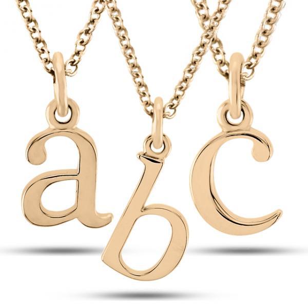 Lower-Case Block Letter Single Initial Pendant Necklace 14k Rose Gold - RE764