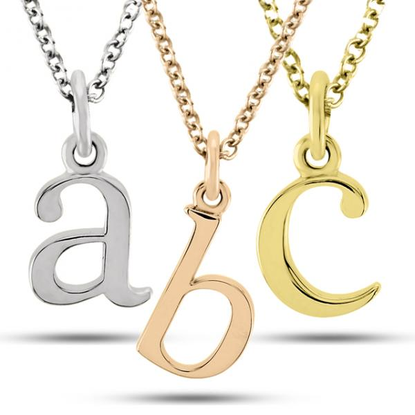 Lower-Case Block Letter Single Initial Pendant Necklace 14k White Gold