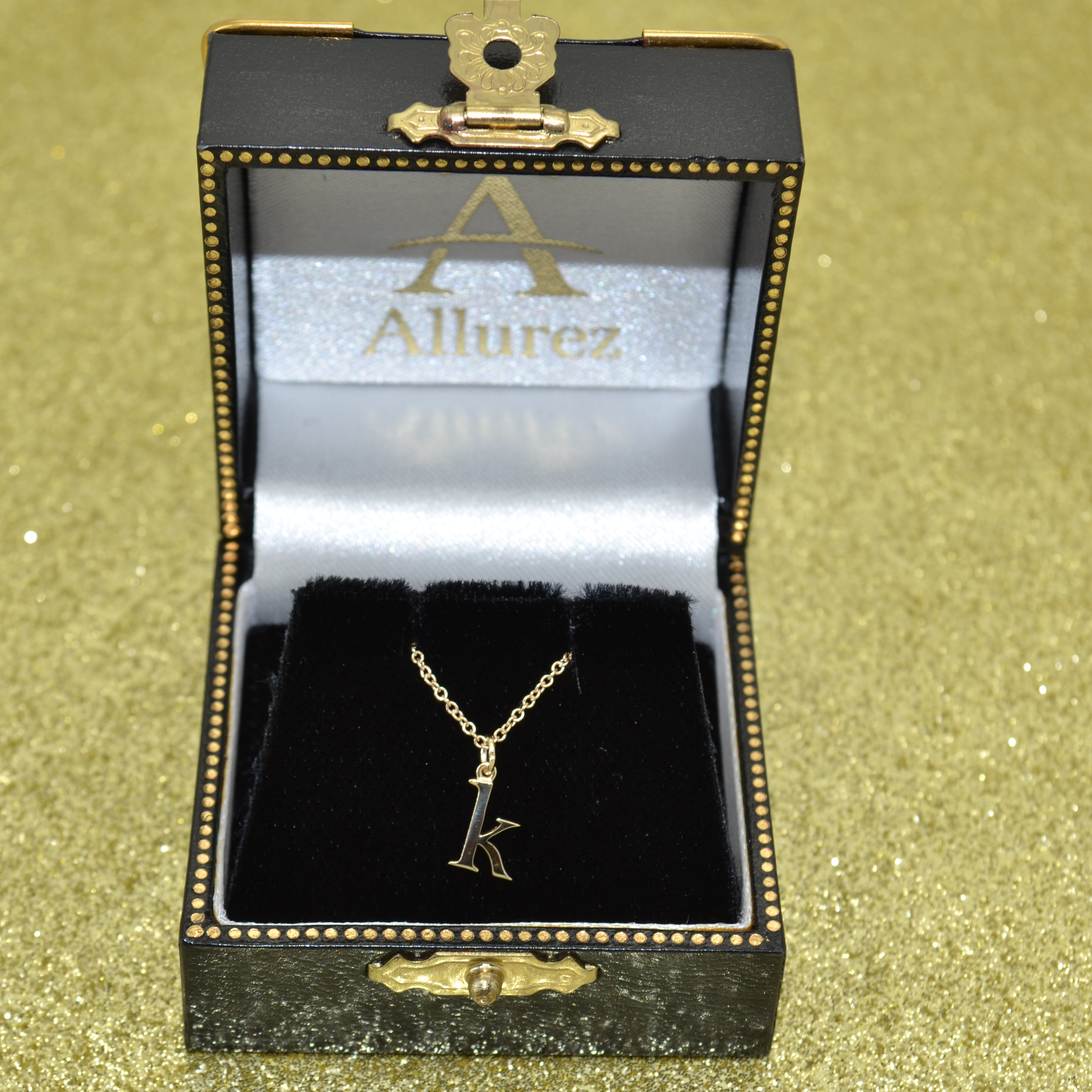 Lower-Case Block Letter Single Initial Pendant Necklace 14k Yellow Gold