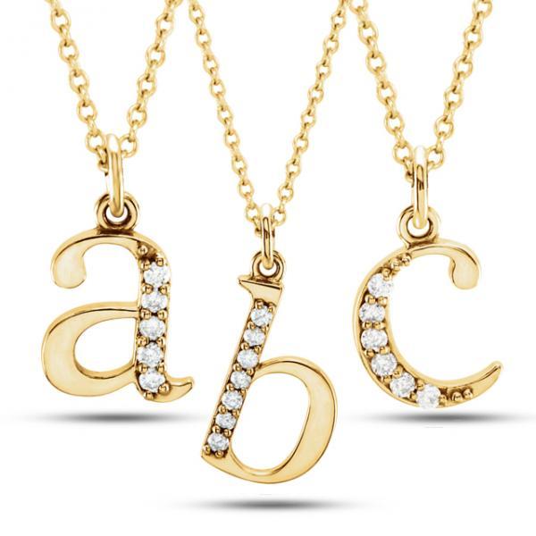Lowercase Diamond Block Letter Initial Pendant in 14k Yellow Gold
