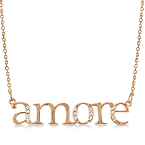 Amore Diamond Pendant Necklace in 14k Rose Gold (0.08ct)