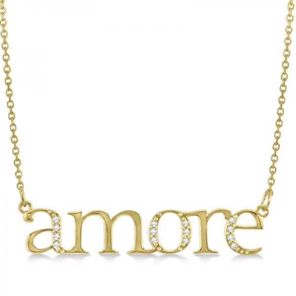 Amore Diamond Pendant Necklace in 14k Yellow Gold (0.08ct)