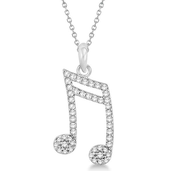 Sixteenth Music Note Pendant Diamond Necklace 14k White Gold 0.20ct