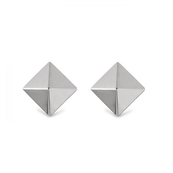 3 Dimensional Pyramid Stud Earrings in Solid 14k White Gold