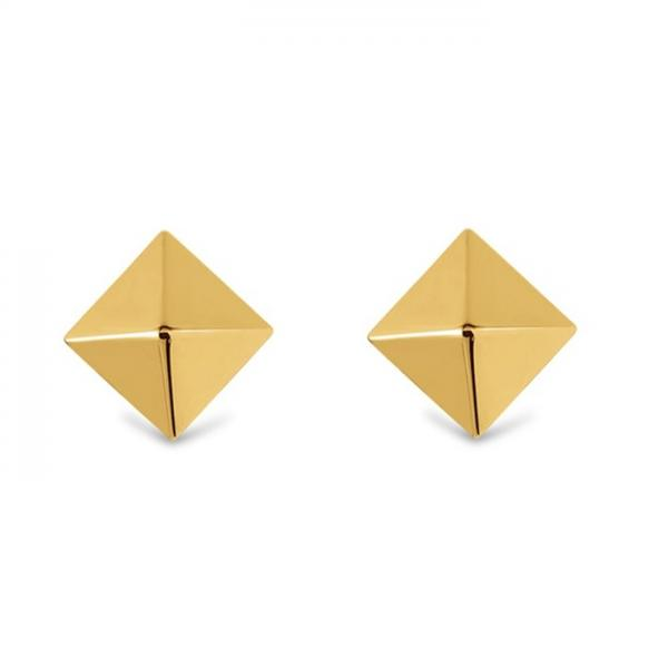3 Dimensional Pyramid Stud Earrings in Solid 14k Yellow Gold