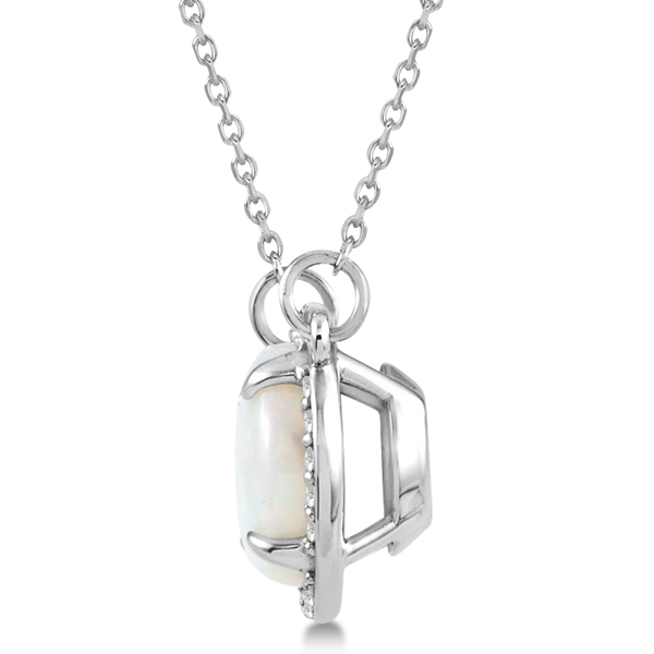 Cabochon White Opal and Diamond Necklace in 14k White Gold (1.58ctw)