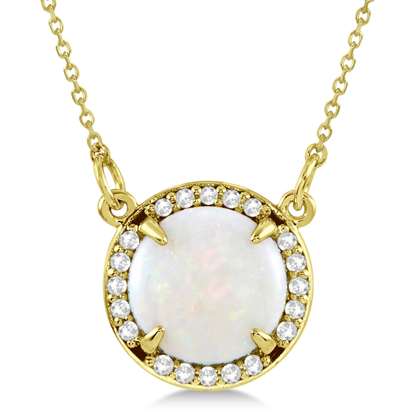Cabochon White Opal and Diamond Necklace in 14k Yellow Gold (1.58ctw)