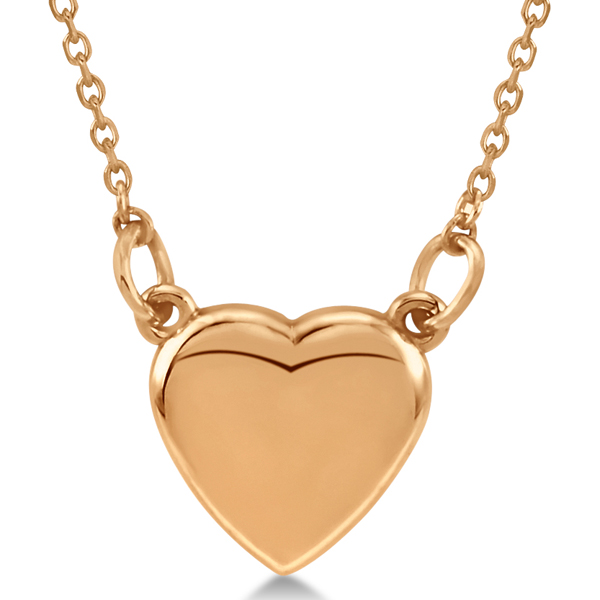 Heart Necklace with 18 inch Chain for Women Crafted of 14k Rose Gold